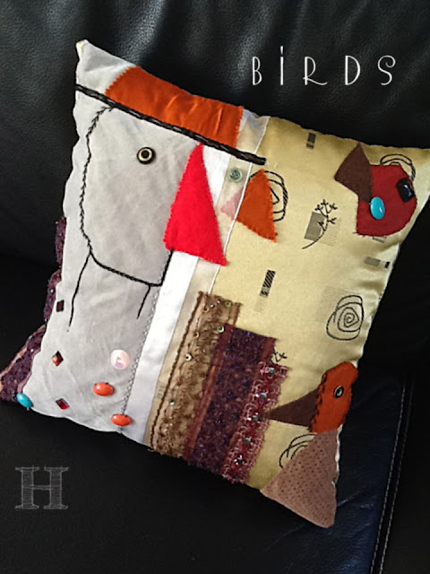 diy handmade cushion - BIRDS