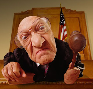 Funny looking judge with hammer