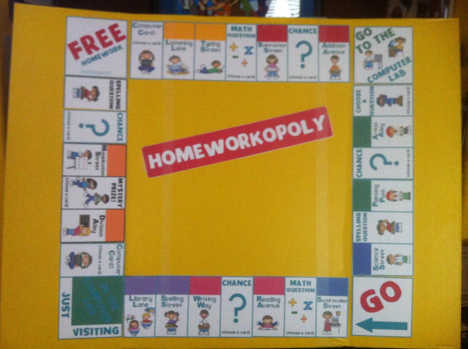 love my classroom homeworkopoly game