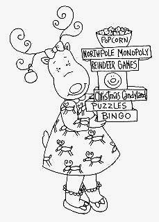 desenho de menina rena com compras para pintar