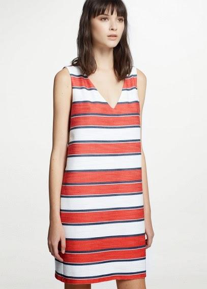 Mango 2015 Elbise Modelleri  çizgili kırmızı beyaz elbise, kısa elbise, yazlık elbise, günlük elbise, rahat elbise