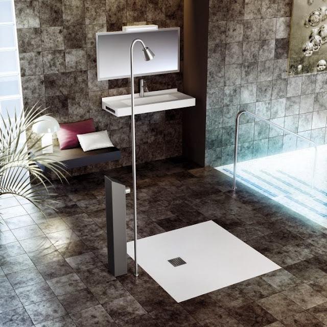 Душевой поддон Fiora Silex Extra Flat в ванной комнате