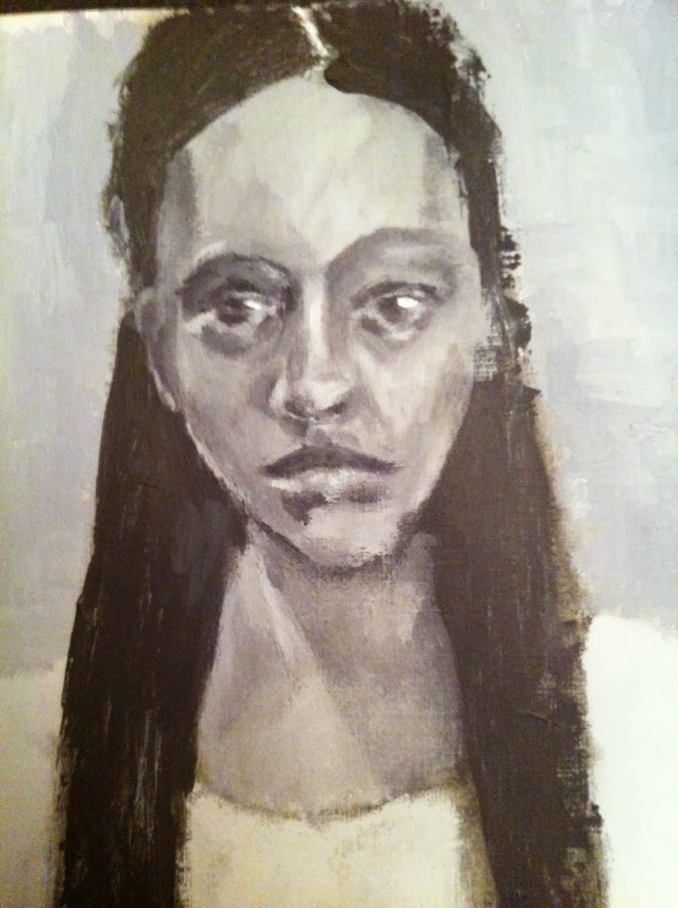 black and white, portrait, acrylic, painting, grisaille,