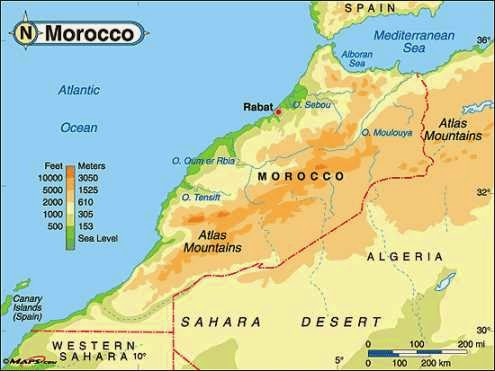 Mountain elevations in physical map of Morocco kingdom.