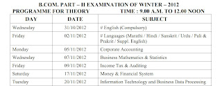 SGBAU B.Com. Part 2 Winter 2012 Timetable