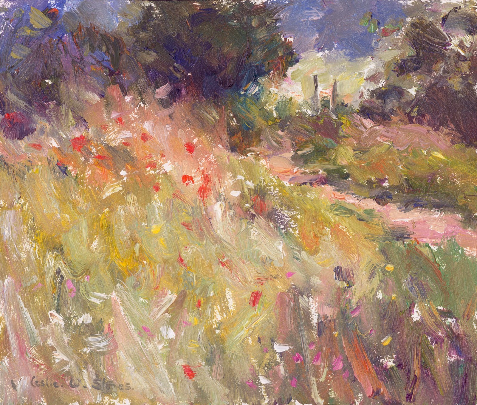 Painting of poppies in a field