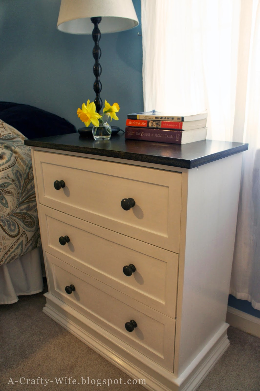 Turn a $35 Ikea Rast dresser into a nice bedside table | A Crafty Wife