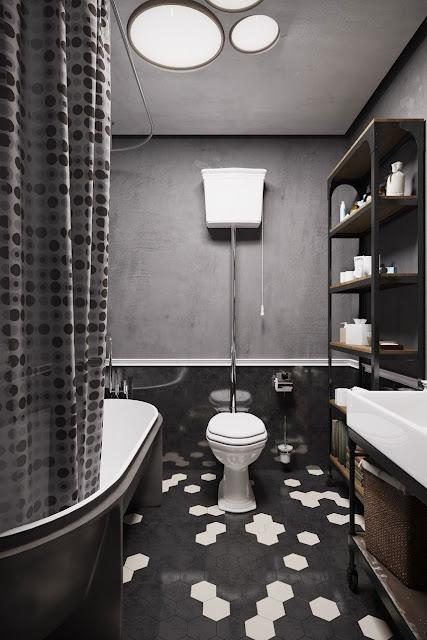 small Black and white bath room design