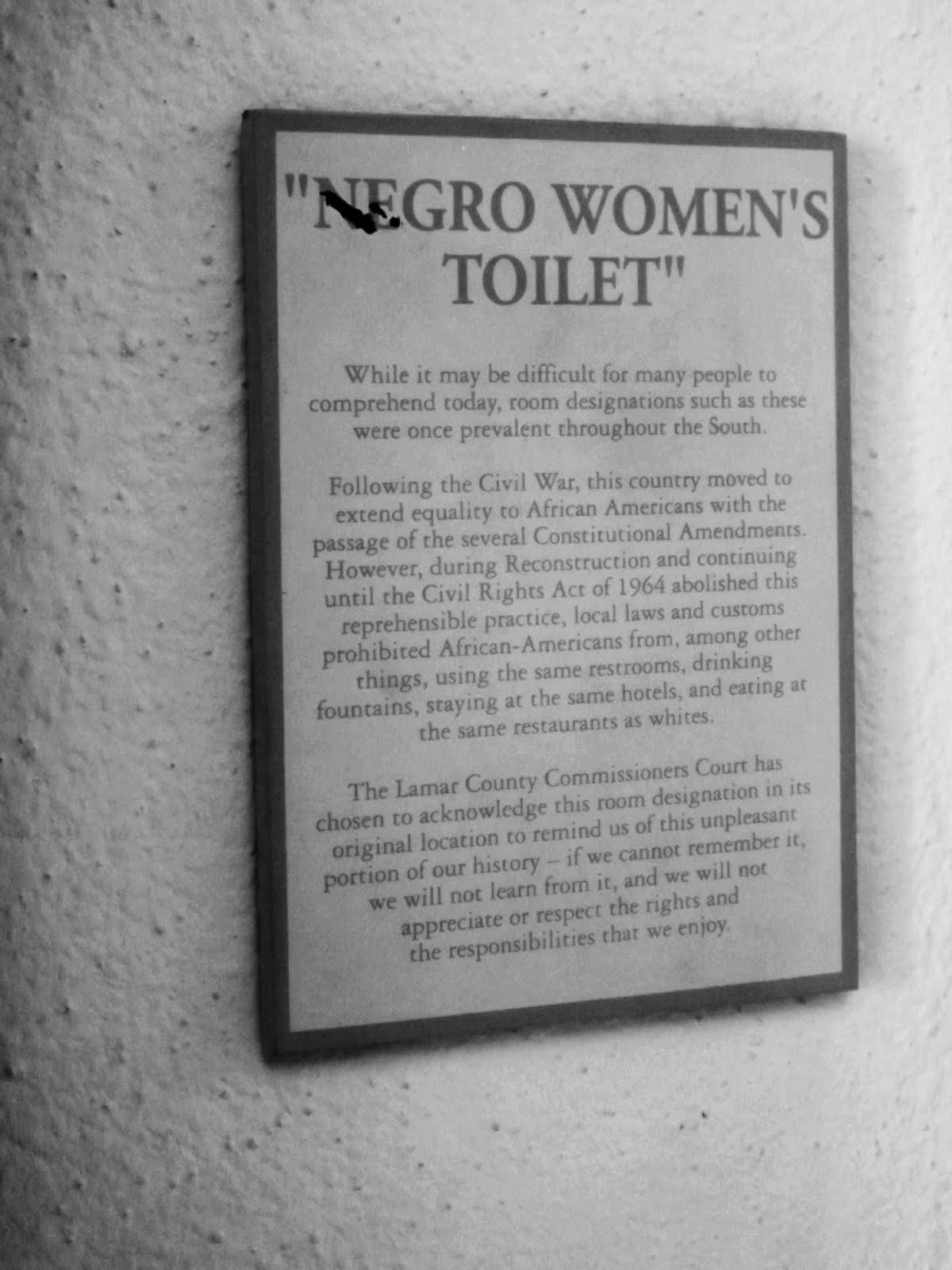 Bathroom Signs History paris texas, jim crow, negro toilet signs, cherished memories
