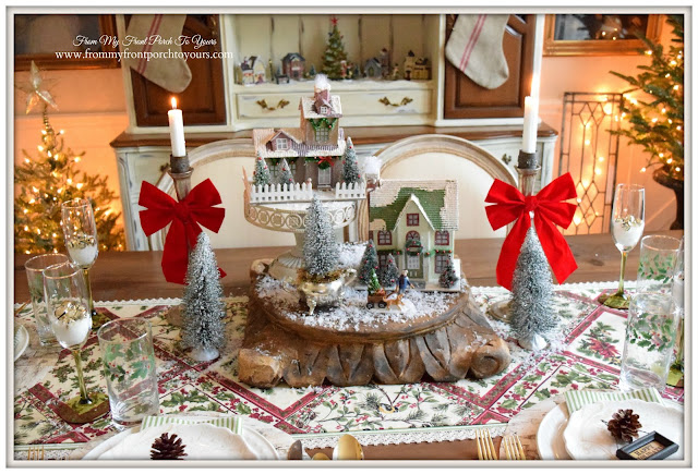 Farmhouse Christmas Dining Room-Putz House Centerpiece-Christmas Centerpiece-Cottage Charm- From My Front Porch To Yours