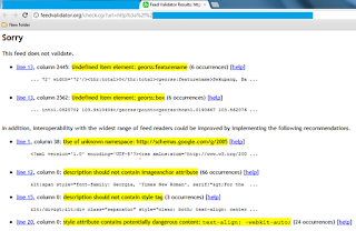 undefined item element: georss:featurename, feedburner feed validity