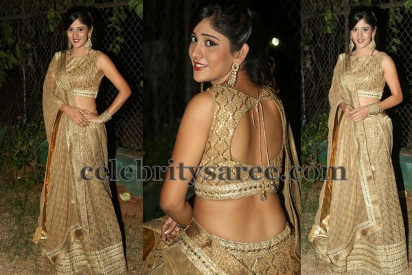 Chandini Chowdary in Gold Lehenga
