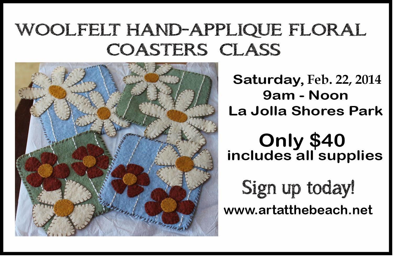 Woolfelt Applique Coasters Class, La Jolla Shores Park, San Diego, CA, Sue Allemand