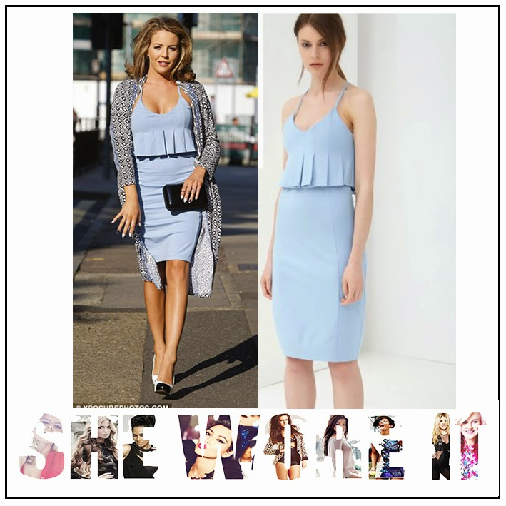 Bodycon, Cross Over Straps, Dress, Lavish Alice, Light Blue, Lydia Bright, Pencil Dress, Peplum, Pleat Detail, Scoop Neck, Sleeveless, The Only Way Is Essex, TOWIE