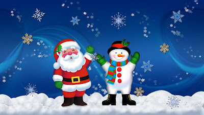 Santa and Snowman Wallpapers