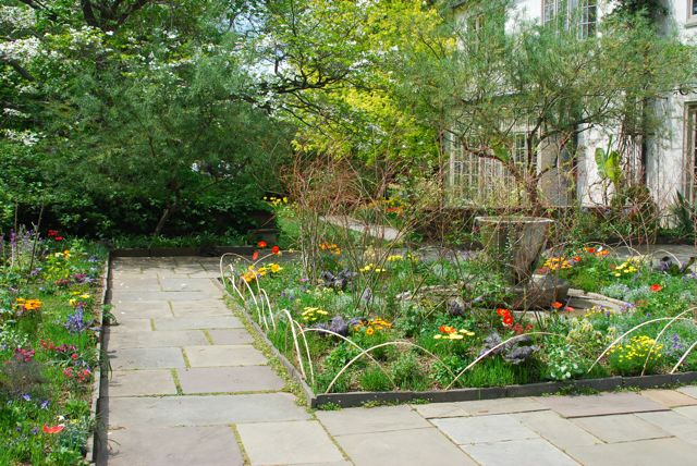 The Tea Cup garden with spring bedding.