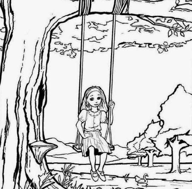Little Kid Swing Summer Coloring Drawing Free wallpaper