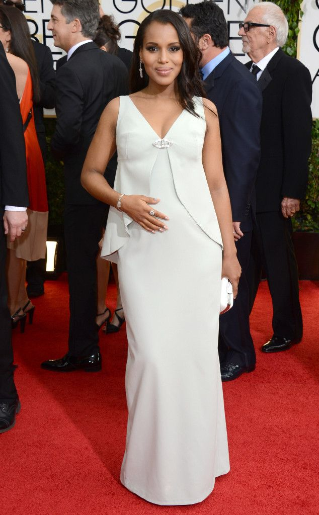 Kerry Washington in a white Balenciaga gown at the 2014 Golden Globe Awards
