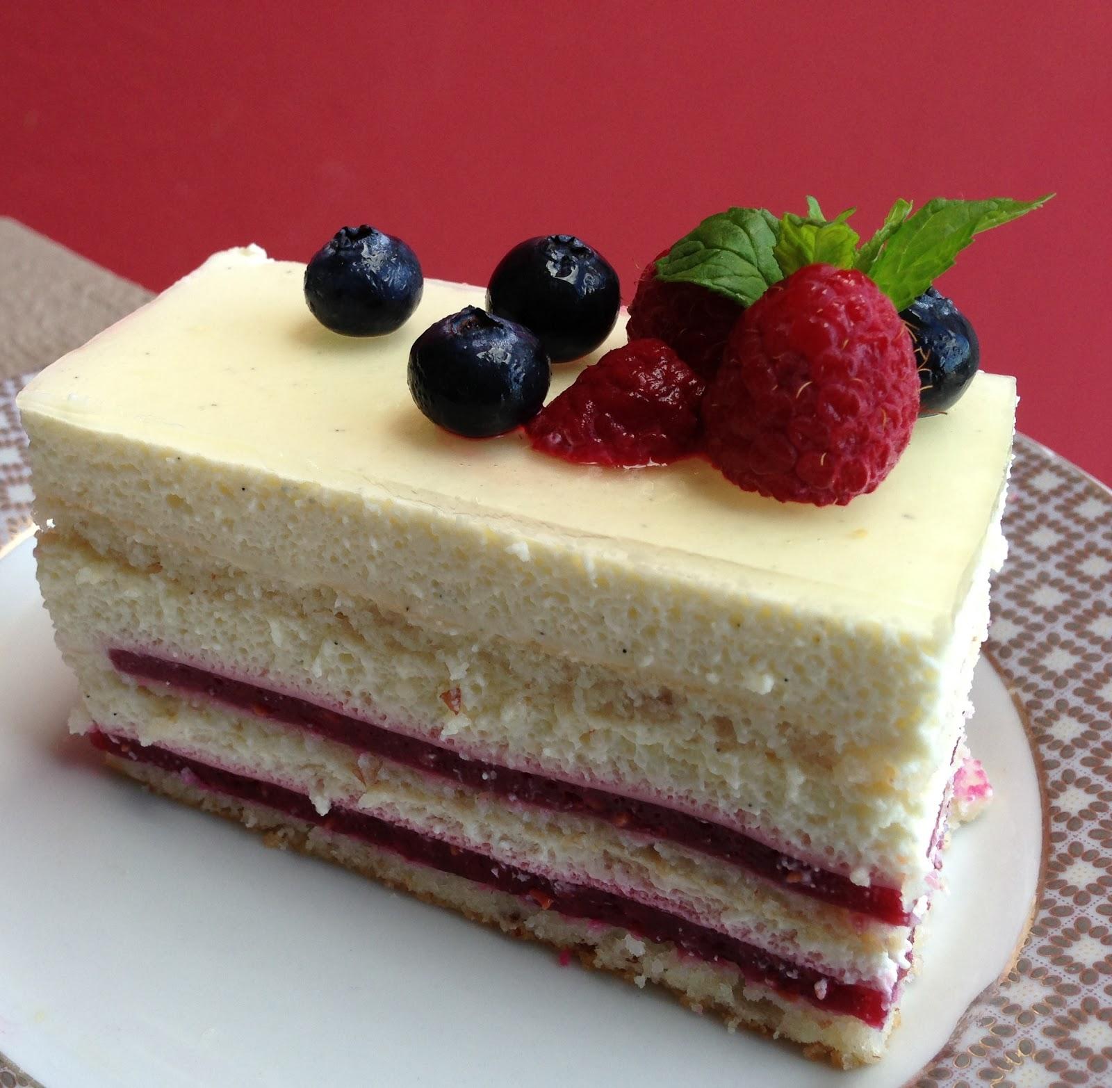 Bavarian Cream Filled Almond Cake