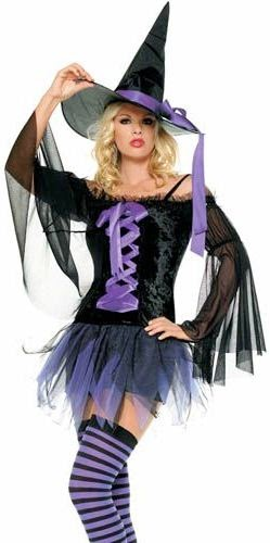 Disfraz de bruja para Halloween color negro y morado