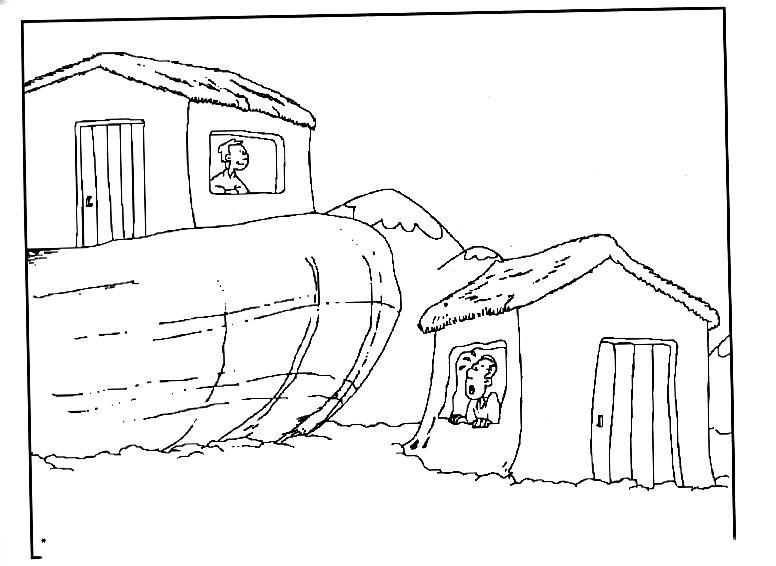 PARA COLOREAR: Parábola de la casa sobre roca para colorear