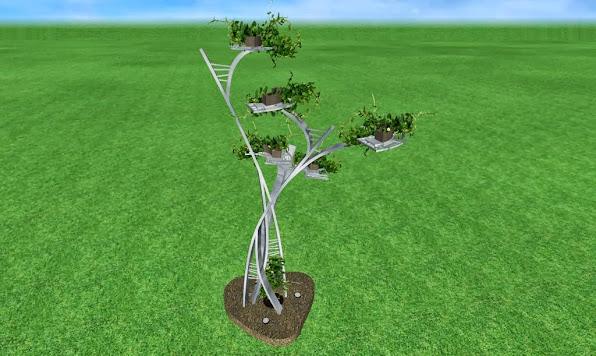 escultura de metal de diseño artistico para un jardin de lujo acabado acero cromado foto 1