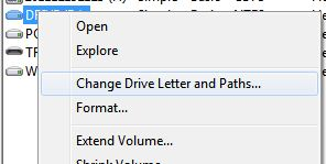 Change Drive Letter and Paths to hide a drive