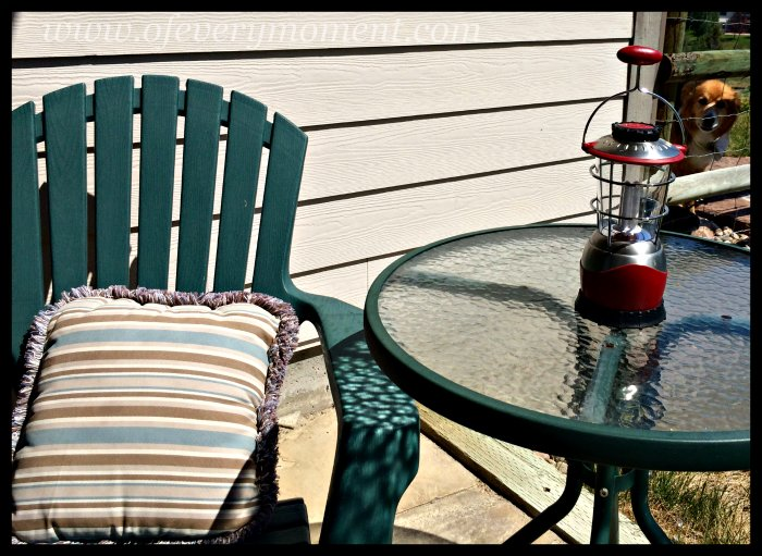 patio furniture, adirondack chair, camping lantern