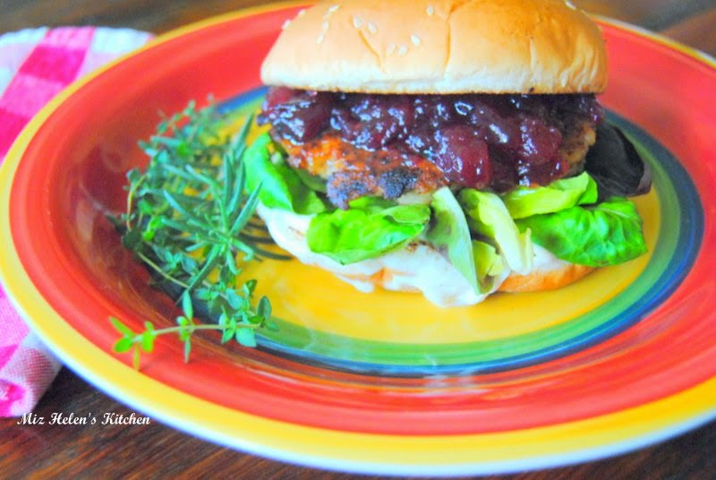 Rosemary Lemon Chicken Burger with Cranberry Sauce and Garlic Aioli at Miz Helen's Country Cottage