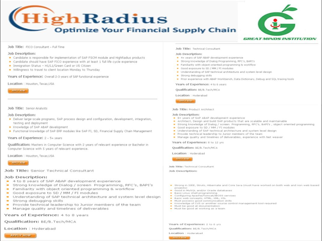 Highradius Drive For 2012 Engineering And Mca Freshers On