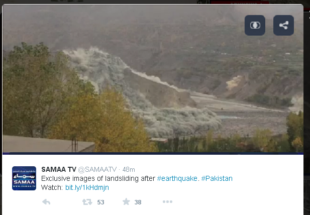 Earthquake Image from #Hunza where an entire glacier has come falling down