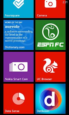 Nokia Lumia 520 Home Screen