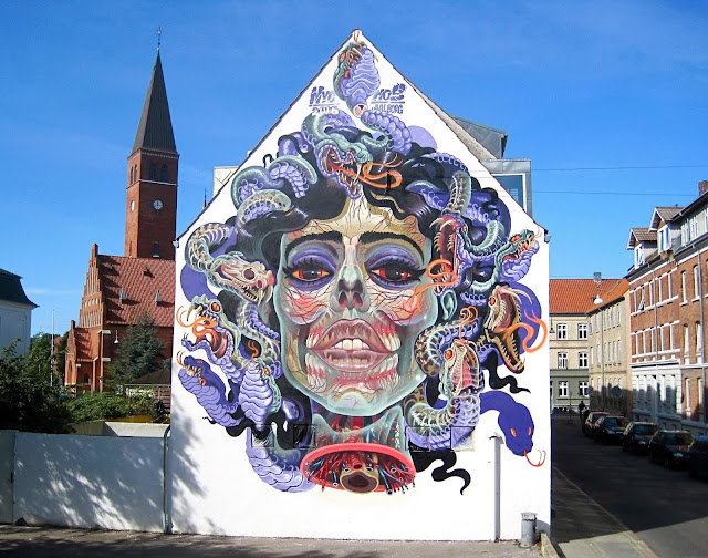Nychos is the latest artist to bring his touch to the streets of Aalborg in Denmark thanks to the guys of We Aart.