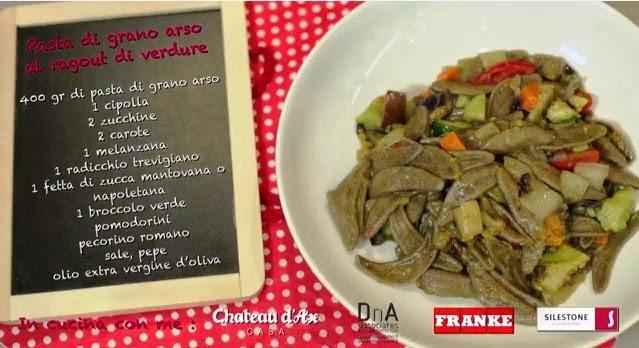 Pasta di Grano Arso con ragout di verdure.