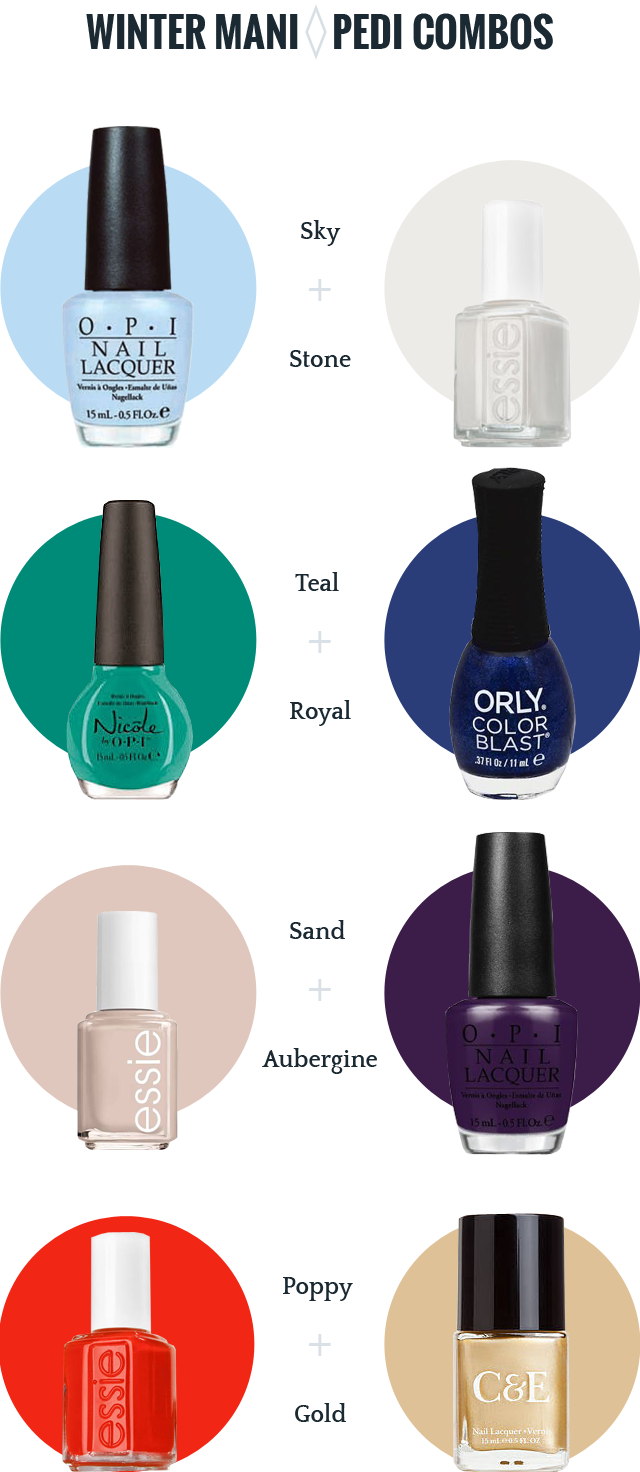Mani pedi color combinations for winter and holidays