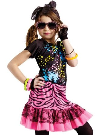 fun world girls 80s pop rock star kids party halloween costume