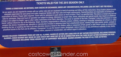 Waterworld California 2015 Single Day General Admission Ticket terms and conditions