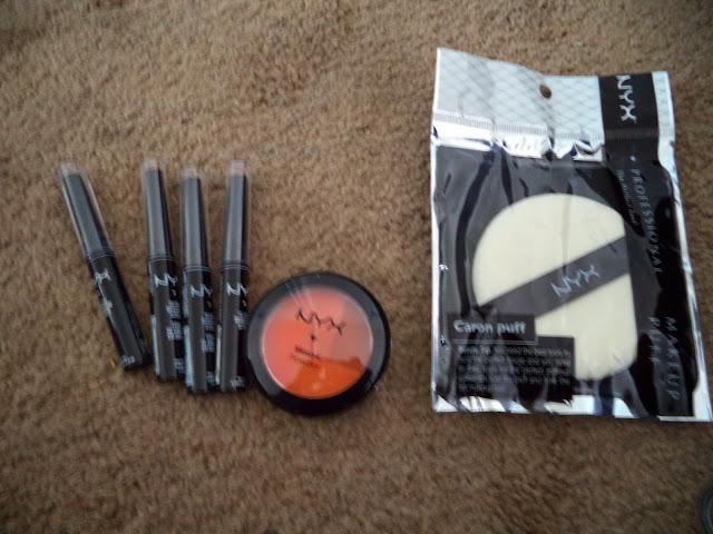 NYX Glam Shadow Sticks, NYX Mosaic Powder Blush, and NYX Caron Puff
