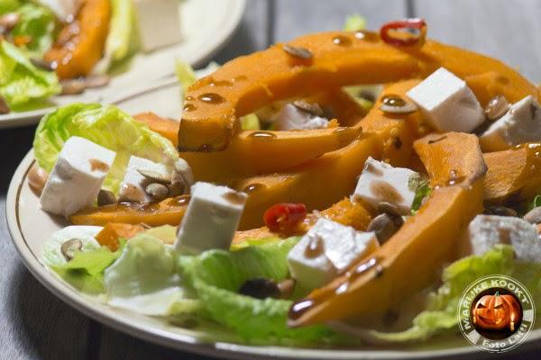 salade van geroosterde pompoen met feta