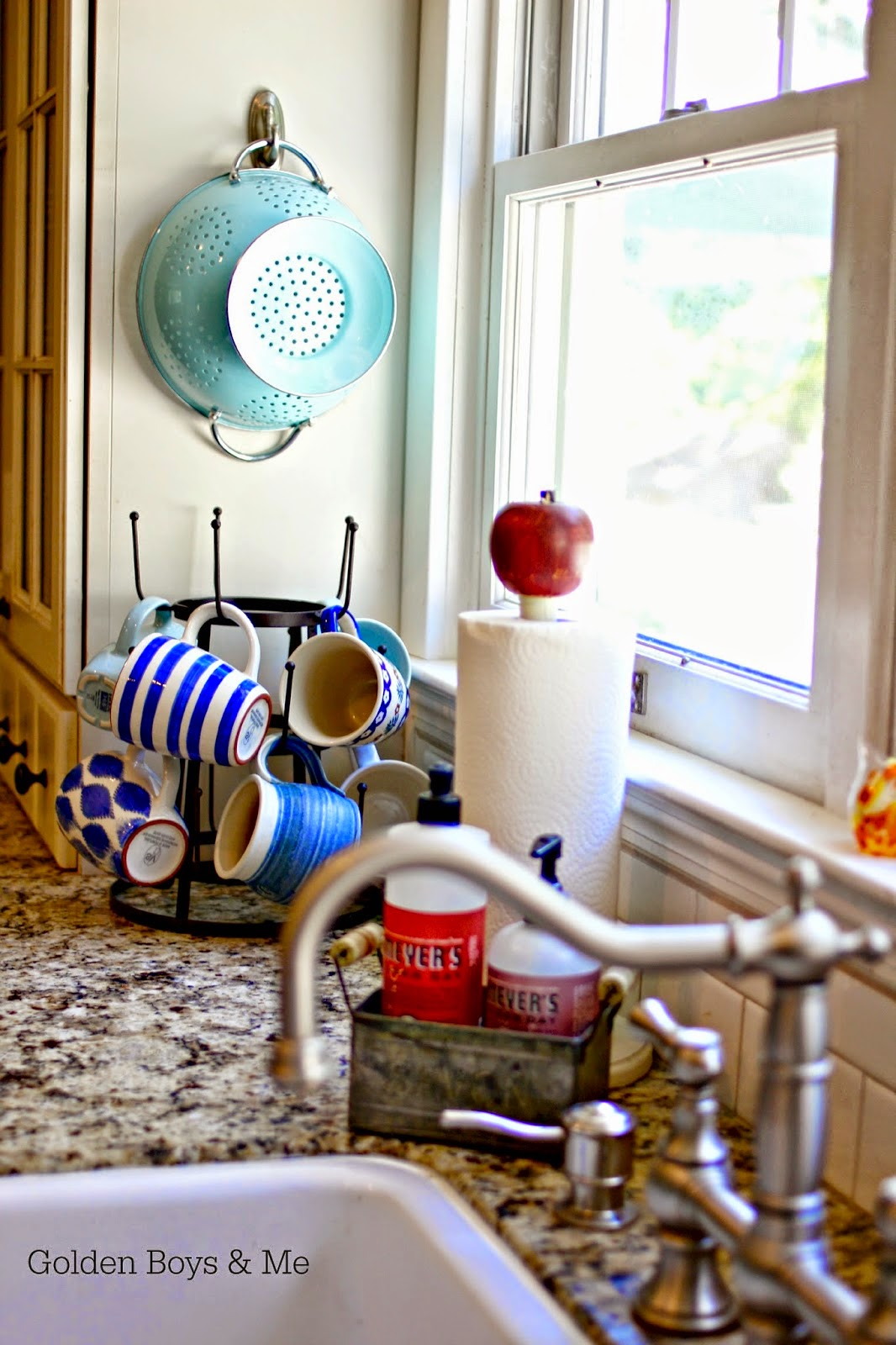 World Market mug rack with colander hung on Command Adhesive Hook-www.goldenboysandme.com