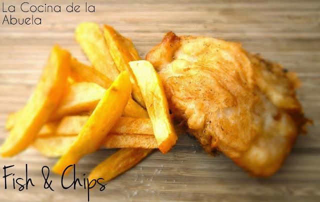 Pescado rebozado inglés. Fish and Chips casero.