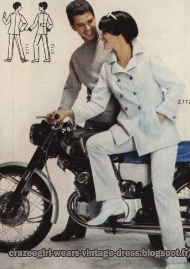 Pant suit peacoat pea coat jacket - 1967 mopeds, motorbikes, motorcycles, scooters 60s 1960 mod