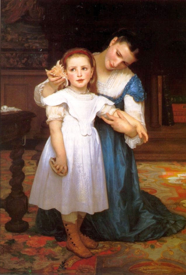 cute girl,mother,genre painting