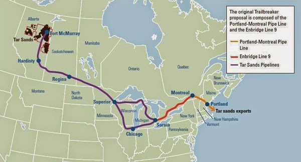 Portland-Montreal Pipeline Could Be Converted for Shipping Tar Sands Oil into the US (Credit: EcoWatch) Click to enlarge.