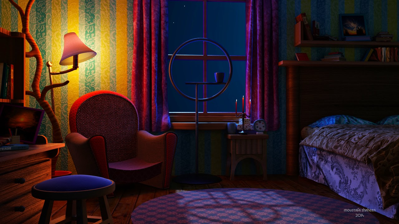 cartoon room night lighting in vray