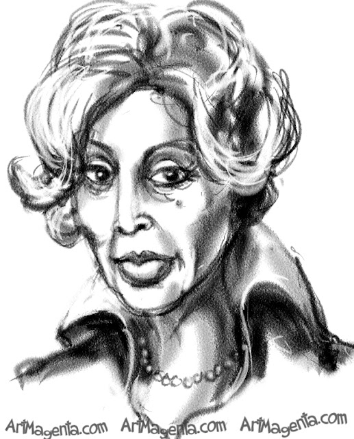 Diahann Carroll caricature cartoon. Portrait drawing by caricaturist Artmagenta