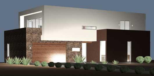 Planos y fachadas de casa habitaci n estilo minimalista for Plano casa minimalista 2 dormitorios