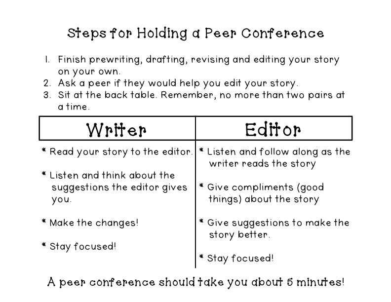 Peer Editing EEEKKK Hippo Hooray for Second Grade – Peer Edit Worksheet