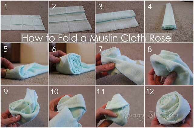fold a muslin cloth rose