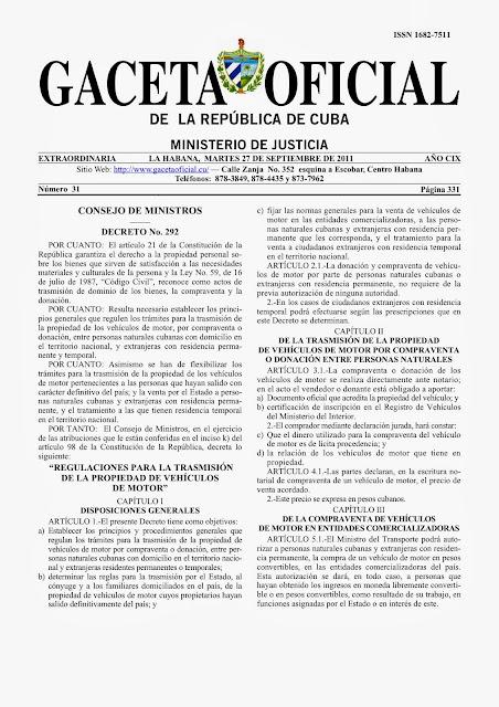 gaceta oficial venta de carros en cuba